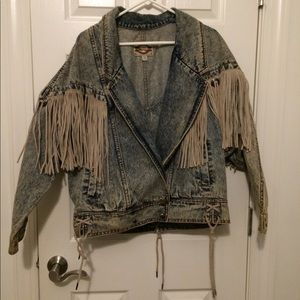 Dusty moto fringe 80s denim jacket